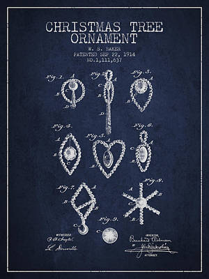 Christmas Tree Ornament Patent From 1914 - Navy Blue Art Print