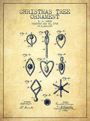 Christmas Tree Ornament Patent From 1914 - Vintage Art Print by Aged Pixel