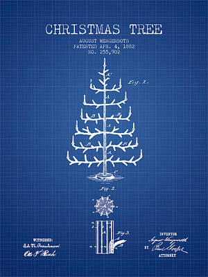 Christmas Tree Patent From 1882 - Blueprint Art Print by Aged Pixel