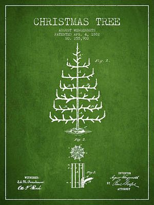 Digital Art - Christmas Tree Patent From 1882 - Green by Aged Pixel