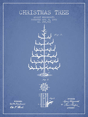 Digital Art - Christmas Tree Patent From 1882 - Light Blue by Aged Pixel