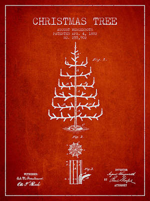 Digital Art - Christmas Tree Patent From 1882 - Red by Aged Pixel