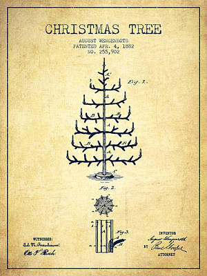 Christmas Tree Patent From 1882 - Vintage Art Print by Aged Pixel