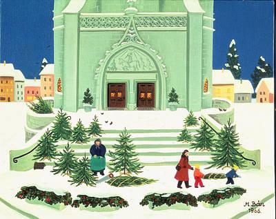 Christmas Tree Selling, 1988 Print by Magdolna Ban