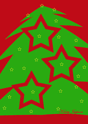 Digital Art - Christmas Tree Stars by Kristy Jeppson
