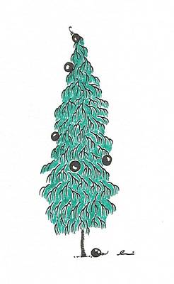 Drawing - Christmas Tree 2 by Andrea Currie