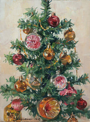 Painting - Christmas Tree by Victoria Kharchenko