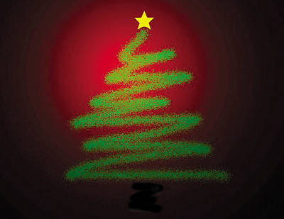 Digital Art - Christmas Tree With Star by Genevieve Esson