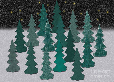 Digital Art - Christmas Trees In Snow Graphic by Conni Schaftenaar