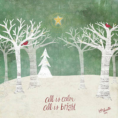 Winter Holiday Painting - Christmas Trees by Katie Doucette