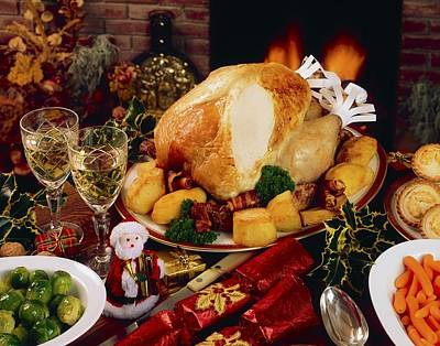 Christmas Turkey Dinner With Wine Art Print by The Irish Image Collection