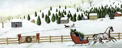 Christmas Valley Sleigh Art Print