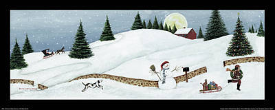 Christmas Valley Snowman With Black Border Art Print by David Carter Brown