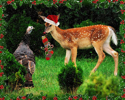 Digital Art - Christmas Wild Turkey And Fawn by Angel Cher
