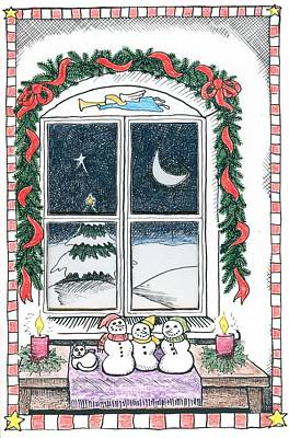 Drawing - Christmas Window by Ralf Schulze
