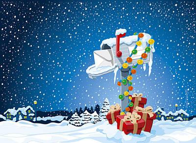 Christmas Winter Landscape Mailbox Gift Boxes Art Print
