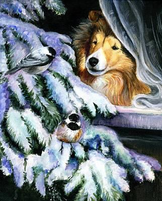 Shetland Sheepdog Painting - Christmas Wonder by Jeanne  McNally