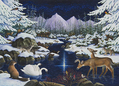 Bobcat Painting - Christmas Wonder by Lynn Bywaters