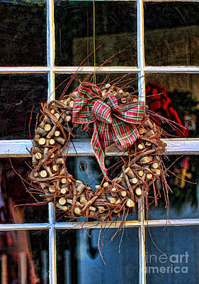 Grapevines Photograph - Christmas Wreath by Darren Fisher