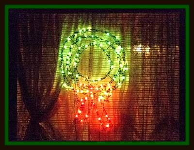 Digital Art - Christmas Wreath In Window by Holley Jacobs