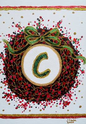 Painting - Christmas Wreath Initial C by Jamie Frier