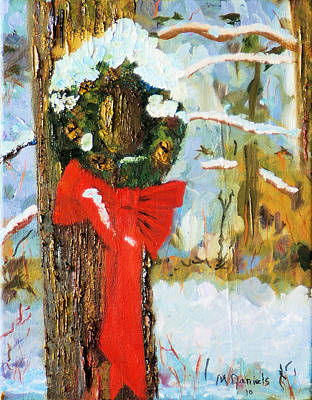 Art Print featuring the painting Christmas Wreath by Michael Daniels