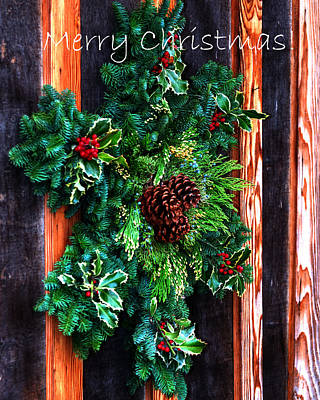 Jerry Sodorff Royalty-Free and Rights-Managed Images - Christmas Wreath Text 20474 by Jerry Sodorff