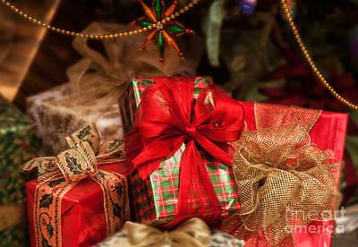 Christmasgift Under The Tree Art Print by Iris Richardson