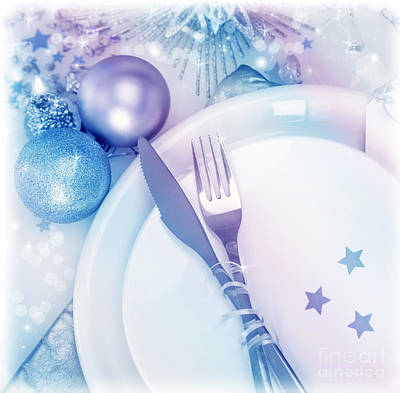 Banquet Photograph - Christmastime Silverware by Anna Om