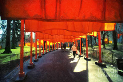 Christo - The Gates - Project For Central Park Art Print by Nishanth Gopinathan