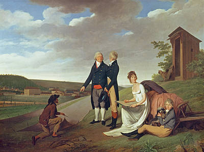 Christophe-philippe Oberkampf And Family In Front Of His Factory At Jouy, 1803 Oil On Canvas Art Print
