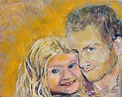 Painting - Christopher And His Daughter Lily by Patricia Trudeau