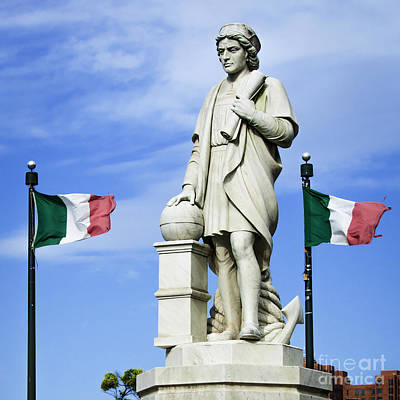 Photograph - Christopher Columbus Baltimore  Statue by Phil Cardamone