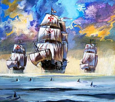 English Gouache Painting - Christopher Columbus's Fleet  by English School