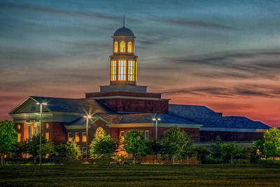 Photograph - Christopher Newport University Trible Library At Sunset by Jerry Gammon