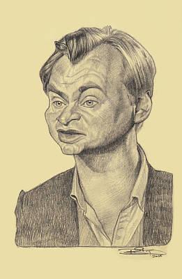 Film Maker Drawing - Christopher Nolan by Sri Priyatham