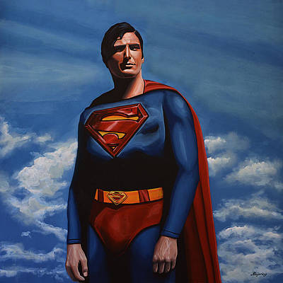 Shield Painting - Christopher Reeve As Superman by Paul Meijering