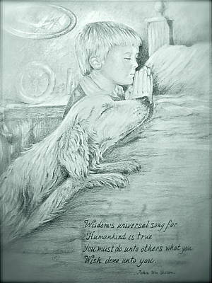 Art Print featuring the painting Christopher Robert And Shala by Patricia Schneider Mitchell