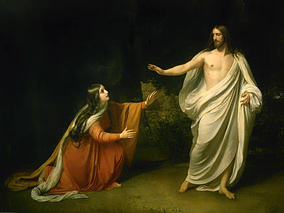 Christian Artwork Painting - Christ's Appearance To Mary Magdalene After The Resurrection  by Mountain Dreams