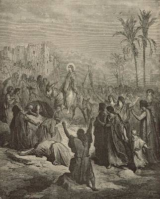 Yeshua Drawing - Christ's Entry Into Jerusalem by Antique Engravings