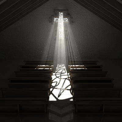 Church Window Digital Art - Christ's Light In The Dark by Allan Swart