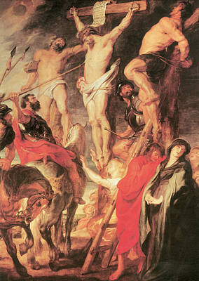 Pierced Side Painting - Christ's Side Pierced With A Lance by Peter Paul Rubens