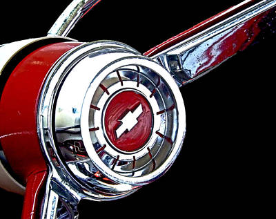 Photograph - Chrome And Red Chevy Wheel by Kristie  Bonnewell