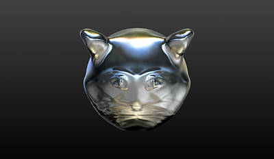 Digital Art - Chrome Cat by Stacy C Bottoms