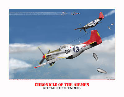 Chronicle Of The Airmen Red Tailed Defenders Art Print by Jerry Taliaferro