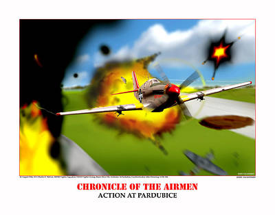 Chronicles Of The Airmen Action At Pardubice Art Print by Jerry Taliaferro