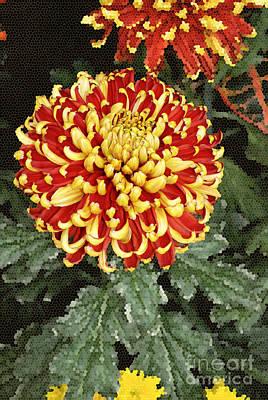 Digital Art - Chrysanthemum Flowers Painted In Stained Glass by Eva Kaufman