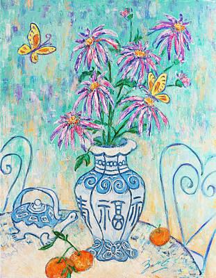 Mandarin Painting - Chrysanthemum Study With Chinese Symbols  by Xueling Zou