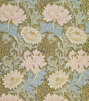 Leaf Drawing - Chrysanthemum Wallpaper by William Morris