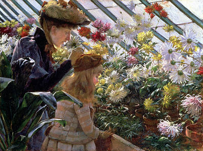 Sniffing Painting - Chrysanthemums, 1890 by Charles Courtney Curran